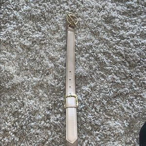BURBERRY BEIGE LEATHER BELT W/GOLDTONE ACCENTS